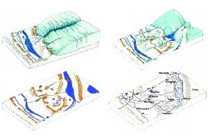 Abbildung 2: Abschmelzender Gletscher mit Toteisblöcken, Eisfreie Landschaft mit Wasser gefüllten Toteislöchern